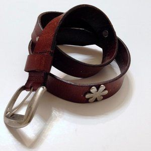 Brown silver flower multi color balls leather belt